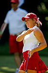 STILLWATER, OK - MAY 23: Lauren Stephenson of Alabama reacts to a putt during the Division I Women's Golf Team Match Play Championship held at the Karsten Creek Golf Club on May 23, 2018 in Stillwater, Oklahoma. (Photo by Shane Bevel/NCAA Photos via Getty Images)