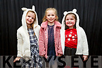 Arabelle Burke, Olivia Leen and Orla Joy ready to go on stage at the Presentation Primary School Junk Kouture Fashion Show in the Rose Hotel on Thursday night