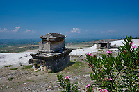 Picture of Tombs on the edge of the white travatines of the  North Necropolis. Hierapolis archaeological site near Pamukkale in Turkey.