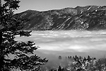 """Cloud Nine"" Black and White Heavenly Ski Resort- Lake Tahoe, CA. In 2005 a layer of clouds hovered over South Lake Tahoe for three weeks. I finally went out to Emerald Bay and hiked up above the clouds to enjoy this view!!!"