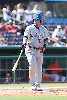 Beau Taylor (13) of the Stockton Ports bats during a game against the Inland Empire 66ers at The Hanger on April 11, 2015 in Lancaster, California. San Jose defeated Lancaster, 8-3. (Larry Goren/Four Seam Images)
