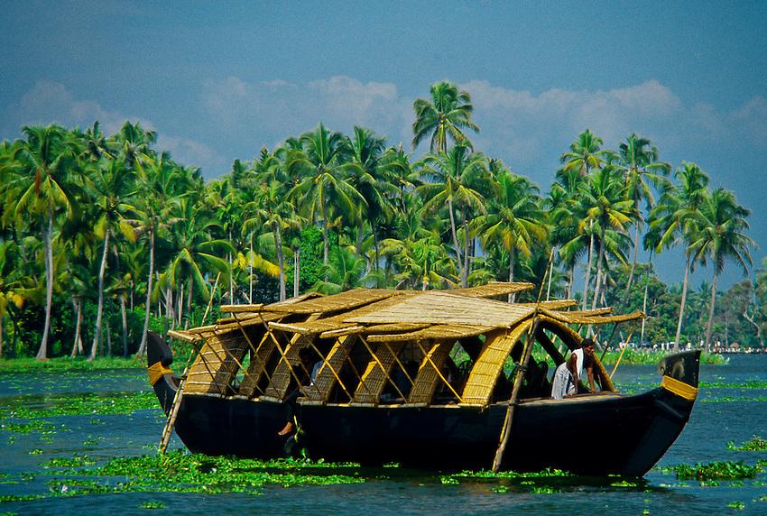 Rice boat (house boat), backwaters near Alappuzha (Alleppey), Kerala, India
