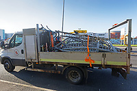 Pictured: A council vehicle with barriers used in the central reservation the articulated M&S lorry crashed through on Fabian Way, Swansea, Wales, UK. Friday 20 September 2019<br /> Re: A Marks and Spencer articulated lorry has crashed through the central reservation of a dual carriageway and into a wall on the opposite side of the road on the A483 Fabian Road in the St Thomas area of Swansea, south Wales, UK.