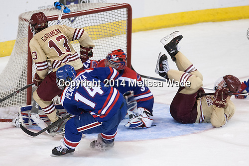 Johnny Gaudreau (BC - 13), Joseph Pendenza (UML - 14), Connor Hellebuyck (UML - 37), Michael Matheson (BC - 5) - The Boston College Eagles defeated the University of Massachusetts Lowell River Hawks 4-3 in the NCAA Northeast Regional final on Sunday, March 30, 2014, at the DCU Center in Worcester, Massachusetts.