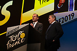 Christian Prudhomme, Tour Director, and 5 time winner Eddy Merckx (BEL) at the Tour de France 2019 route presentation held at Palais de Congress, Paris, France. 25th October 2018.<br />