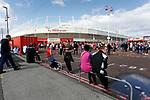 Sunderland fans congregating outside the ground. Sunderland 2 Portsmouth 1, 17/08/2019. Stadium of Light, League One. Photo by Paul Thompson.