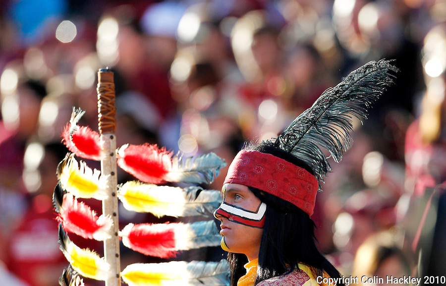 TALLAHASSEE, FL 11/27/10-FSU-UF FB10 CH-Florida State Mascot Chief Osceola, portrayed by Drake Anderson watches the Florida game Saturday at Doak Campbell Stadium in Tallahassee. .COLIN HACKLEY PHOTO