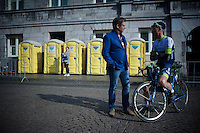 race organiser Leo Van Vliet &  countryman Pieter Weening (NLD/Orica GreenEDGE) catch up for a chat pré-race<br /> <br /> 50th Amstel Gold Race 2015