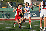 Placentia, CA 05/14/10 - Melissa Hastie (Los Alamitos # 16) and Tully Tampakes (Redondo #4) in action during the 2010 CIF Girls Lacrosse Championship game between Redondo Union and Los Alamitos, Los Alamitos defeated Redondo 24-7.
