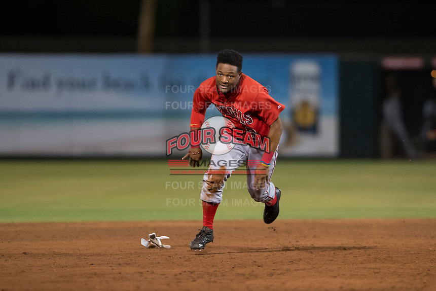AZL Angels left fielder Datren Bray (16) hustles towards third base during an Arizona League game against the AZL Indians 2 at Tempe Diablo Stadium on June 30, 2018 in Tempe, Arizona. The AZL Indians 2 defeated the AZL Angels by a score of 13-8. (Zachary Lucy/Four Seam Images)