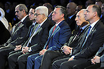 (L-R) Jordan's Royal Court Chief Fayez al-Tarawneh, Jordan's Crown Prince Hussein bin Abdullah, Palestinian President Mahmoud Abbas, Jordan's King Abdullah, Israeli President Shimon Peres, Prince Faisal of Jordan, attend the closing session on the final day of the World Economic Forum on the Middle East and North Africa, at the King Hussein Convention Centre, at the Dead Sea May 26, 2013. Photo by Thaer Ganaim