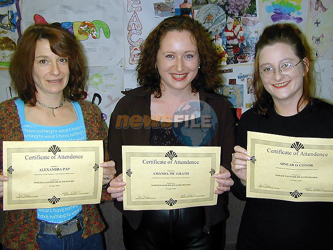Alexandra Pap, rowan Heights, Amanda McGrath, Brookville Park and Sinead O'Connor, North Strand who recieved certs for attendance on  the Drug Question, Local Answers 5 week course..Picture Paul Mohan Newsfile
