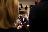 United States President Barack Obama talks to the Press after meeting with small business owners to discuss the importance of the reauthorization of the Export-Import Bank in the Roosevelt Room of the White House on July 22, 2015, in Washington, DC.  <br /> Credit: Aude Guerrucci / Pool via CNP