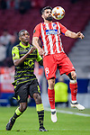 Diego Costa of Atletico de Madrid (R) fights for the ball with William Carvalho of Sporting CP (L) during the UEFA Europa League quarter final leg one match between Atletico Madrid and Sporting CP at Wanda Metropolitano on April 5, 2018 in Madrid, Spain. Photo by Diego Souto / Power Sport Images