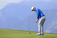 Lucas Bjerregaard (DEN) putts on the 7th green during Thursday's Round 1 of the 2017 Omega European Masters held at Golf Club Crans-Sur-Sierre, Crans Montana, Switzerland. 7th September 2017.<br /> Picture: Eoin Clarke | Golffile<br /> <br /> <br /> All photos usage must carry mandatory copyright credit (&copy; Golffile | Eoin Clarke)