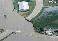 Flooding along South Platte River, near Greeley in Weld County, Colorado.  Hwy 34 washout.