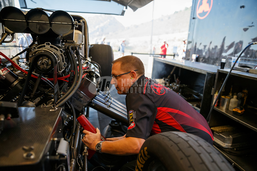 Jul 23, 2017; Morrison, CO, USA; Crew members for NHRA funny car driver Jonnie Lindberg during the Mile High Nationals at Bandimere Speedway. Mandatory Credit: Mark J. Rebilas-USA TODAY Sports