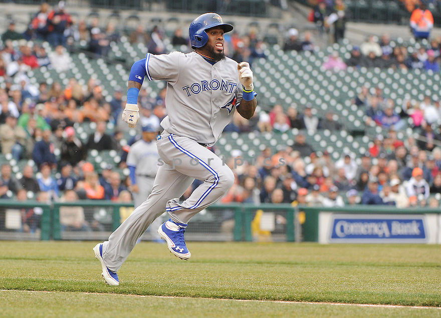 Toronto Blue Jays Jose Reyes (7) during a game against the Detroit Tigers on April 9, 2013 at Comerica Park in Detroit, MI. The Tigers beat the Blue Jays 7-3.