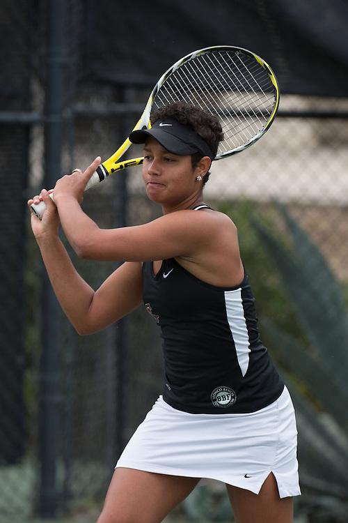 April 22, 2015; San Diego, CA, USA; Santa Clara Broncos tennis player Nicolette Wolny during the WCC Tennis Championships at Barnes Tennis Center.
