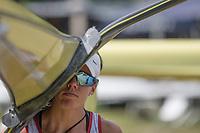 "Lucerne, SWITZERLAND, 14th July 2018, Saturday,  Switzerland, ""Women's Single Sculler"", ""Jeannine GMELIN"" ,  SUI W1X, FISA World Cup III Lake Rotsee, © Peter SPURRIER,"