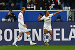 18.01.2020, PreZero-Arena, Sinsheim, GER, 1. FBL, TSG 1899 Hoffenheim vs. Eintracht Frankfurt, <br /> <br /> DFL REGULATIONS PROHIBIT ANY USE OF PHOTOGRAPHS AS IMAGE SEQUENCES AND/OR QUASI-VIDEO.<br /> <br /> im Bild: Timothy Chandler (Eintracht Frankfurt #22) jubelt mit Bas Dost (Eintracht Frankfurt #9) ueber sein Tor zum 1:2<br /> <br /> Foto © nordphoto / Fabisch