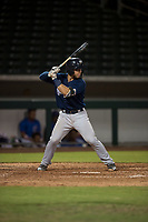 AZL Brewers catcher Kekai Rios (55) at bat during an Arizona League game against the AZL Cubs 1 at Sloan Park on June 29, 2018 in Mesa, Arizona. The AZL Cubs 1 defeated the AZL Brewers 7-1. (Zachary Lucy/Four Seam Images)