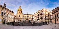 Palermo, panoramic photo of Pretoria Fountain (Fontana Pretoria) in Piazza Pretoria with the dome of The Church (Chiesa) of San Giuseppe dei Teatini, Palermo, Sicily, Italy, Europe. This is a panoramic photo of Pretoria Fountain (Fontana Pretoria) in Piazza Pretoria with the dome of The Church (Chiesa) of San Giuseppe dei Teatini, Palermo, Sicily, Italy, Europe