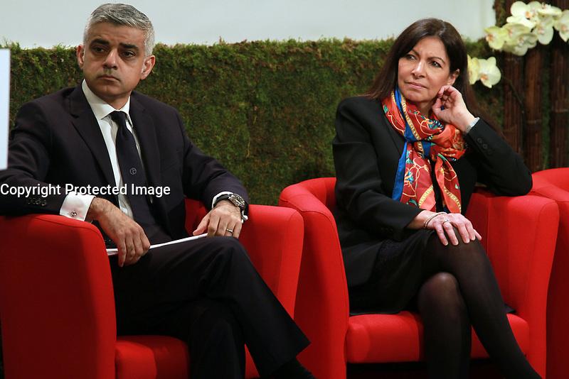 Anne Hidalgo maire de Paris, Sadiq Khan maire de Londres, Park Won-soon maire de Seoul, - LANCEMENT DE L'INITIATIVE BAPTISEE 'AIR'VOLUTION',