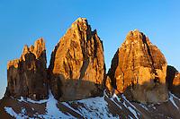 Mountain impression Tre Cime - Europe, Italy, South Tyrol, Sexten Dolomites, Tre Cime - Sunrise - July 2009 - Mission Dolomites Tre Cime
