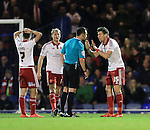Sheffield United's Dean Hammond complains after the award of Southend's opening goal during the League One match at Roots Hall Stadium.  Photo credit should read: David Klein/Sportimage