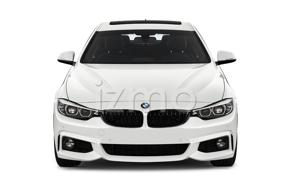 Car photography straight front view of a 2019 BMW 4-Series 440i-M-Sport Door Coupe Front View