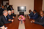 Palestinian President Mahmoud Abbas meets with President of Togo Faure Essozimna Gnassingbe, on the sidelines of the 29th Ordinary Session of the Assembly of the Heads of State and the Governments, in Addis Ababa, Ethiopia July 3, 2017. Photo by Thaer Ganaim
