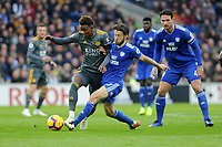 Demarai Gray of Leicester City vies for possession with Harry Arter of Cardiff City during the Premier League match between Cardiff City and Leicester City at Cardiff City Stadium in Cardiff, Wales, UK. Saturday 3rd November 2018
