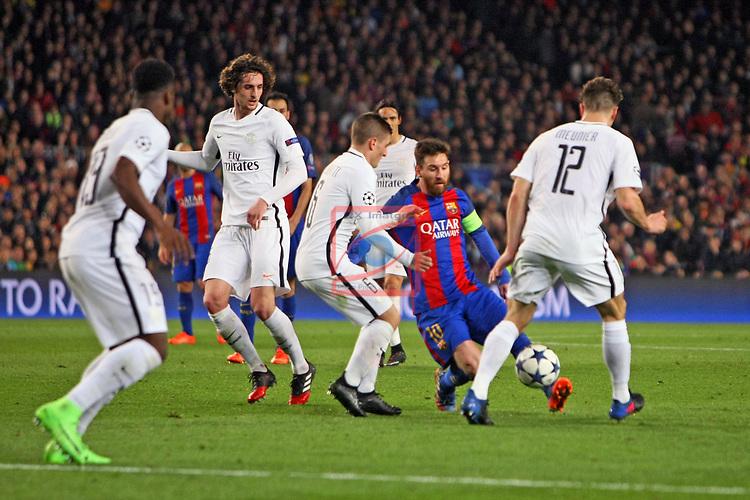UEFA Champions League 2016/2017.<br /> Round of 16 2nd leg<br /> FC Barcelona vs Paris Saint-Germain: 6-1.<br /> Marco Verratti, Lionel Messi &amp; Thomas Meunier.