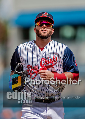 22 July 2018: Syracuse SkyChiefs infielder Jose Marmolejos returns to the dugout during a game against the Louisville Bats at NBT Bank Stadium in Syracuse, NY. The Bats defeated the Chiefs 3-1 in AAA International League play. Mandatory Credit: Ed Wolfstein Photo *** RAW (NEF) Image File Available ***