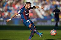 27th October 2019; Estadi Cuitat de Valencia, Valencia, Spain; La Liga Football, Levante versus Espanyol; Jose Luis Morales of Levante UD crosses into the box - Editorial Use