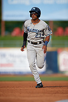 West Michigan Whitecaps center fielder Derek Hill (23) runs the bases during the first game of a doubleheader against the Lake County Captains on August 6, 2017 at Classic Park in Eastlake, Ohio.  Lake County defeated West Michigan 4-0.  (Mike Janes/Four Seam Images)