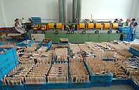 Some of the thousands of brushes produced daily sit in front of a sanding machine at one of the most successful brush manufacturers in the world. The Yixing Zhenxin Made Brush Co. Ltd produces a staggering 220,000 brushes every day using relatively non-high-tech but labour intensive methods for a variety of domestic and international clients. International clients include the home Depot, Wallmart and ICI to name a few..
