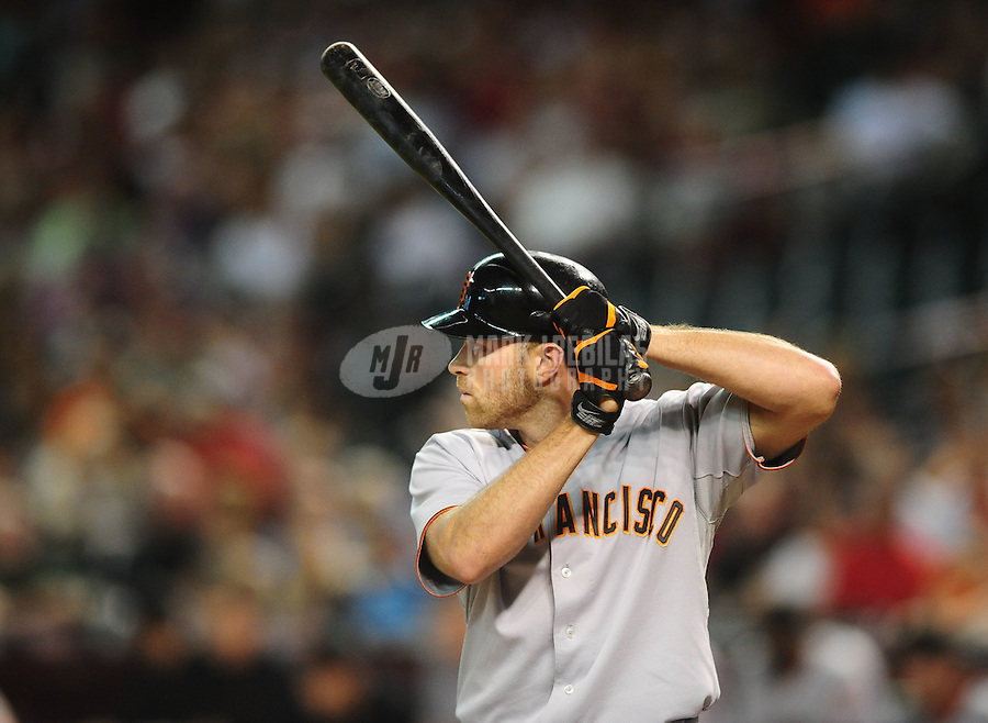 Jul. 23, 2010; Phoenix, AZ, USA; San Francisco Giants outfielder Nate Schierholtz against the Arizona Diamondbacks at Chase Field. Mandatory Credit: Mark J. Rebilas-