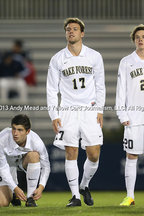 25 October 2013: Wake Forest's Andy Lubahn. The Duke University Blue Devils hosted the Wake Forest University Demon Deacons at Koskinen Stadium in Durham, NC in a 2013 NCAA Division I Men's Soccer match. The game ended in a 2-2 tie after two overtimes.