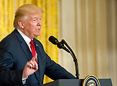 United States President Donald J. Trump conducts a joint press conference with Prime Minister Paolo Gentiloni of Italy  in the East Room of the White House in Washington, DC on Thursday, April 20, 2017.<br /> Credit: Ron Sachs / CNP