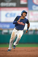 Scranton/Wilkes-Barre RailRiders third baseman Miguel Andujar (9) running the bases during the first game of a doubleheader against the Rochester Red Wings on August 23, 2017 at Frontier Field in Rochester, New York.  Rochester defeated Scranton 5-4 in a game that was originally started on August 22nd but was postponed due to inclement weather.  (Mike Janes/Four Seam Images)