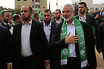Chairman of the political bureau of the Hamas Palestinian Islamist movement, Ismail Haniyeh arrives to attend a rally marking the 31th anniversary of the founding of the Hamas movement, in Gaza city, December 16, 2018. Photo by Ashraf Amra