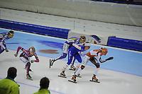 SCHAATSEN: HEERENVEEN: IJsstadion Thialf, 02-01-2013, Seizoen 2012-2013, KPN NK Mass-Start, Dames, Sharon Hendriks (#11), Rixt Meijer (#97), Irene Schouten (#80), Mariska Huisman (#76), ©foto Martin de Jong