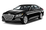 2017 Genesis G80 4 Door Sedan Angular Front stock photos of front three quarter view