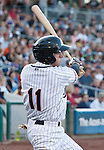 Reno Aces Tyler Bortnick swings agianst the Colorado Sky Sox during their game on Friday night July 27, 2012 at Aces Ballpark in Reno, NV.