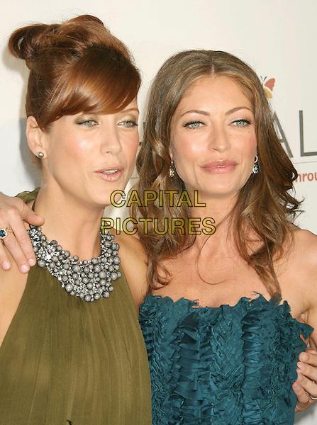 KATE WALSH & REBECCA GAYHEART.Sixth Annual Chrysalis Butterfly Ball held at the Home of Susan Harris and Hayward Kaiser, Mandeville Canyon, California, USA..June 2nd, 2007.headshot portrait green beads beaded halterneck collar funny face blue .CAP/ADM/RE.©Russ Elliot/AdMedia/Capital Pictures *** Local Caption *** ..