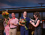 David Josefsberg, Jason Mraz and Sara Bareilles take a bow at the curtain call of Broadway's 'Waitress' at The Brooks Atkinson Theatre on November 3, 2017 in New York City.