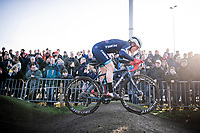Katie Compton (USA/KFC Racing p/b Trek/Panache) attacking the pump track<br /> <br /> Azencross Loenhout 2019 (BEL)<br />  <br /> ©kramon