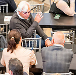 LOUISVILLE, KENTUCKY - APRIL 30: Trainer Bob Baffert talks with Trainer Mark Casse during the Post Position Draw for the 145th Kentucky Derby at Churchill Downs in Louisville, Kentucky on April 30, 2019. Scott Serio/Eclipse Sportswire/CSM
